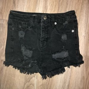 destroyed black high rise denim shorts